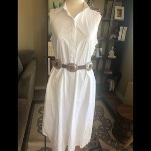 Ann Taylor Long White Sleeveless Dress NWT